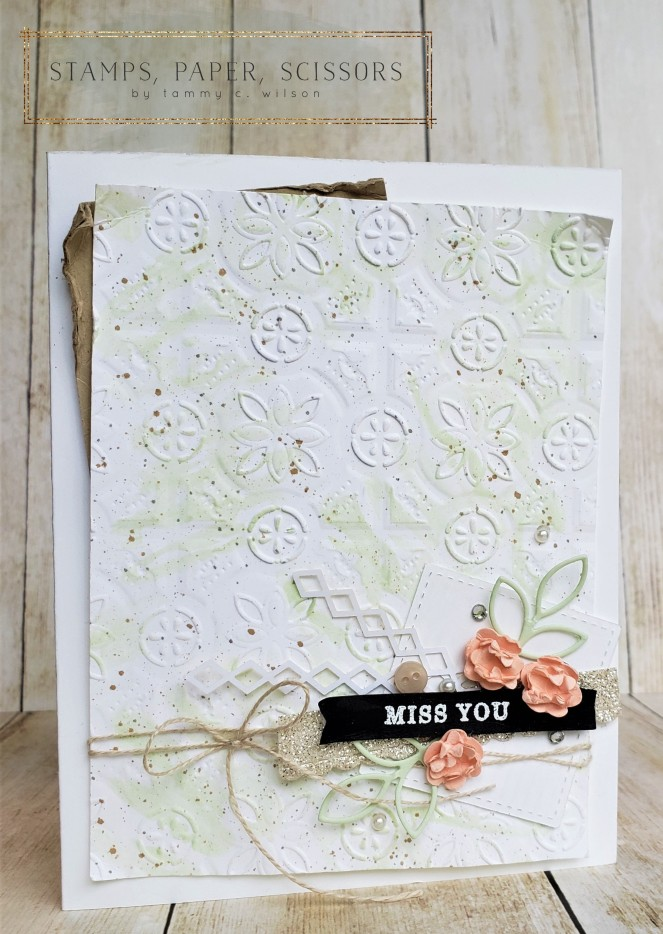 Tin Tile Embossing Folder - Miss You by Tammy C. Wilson