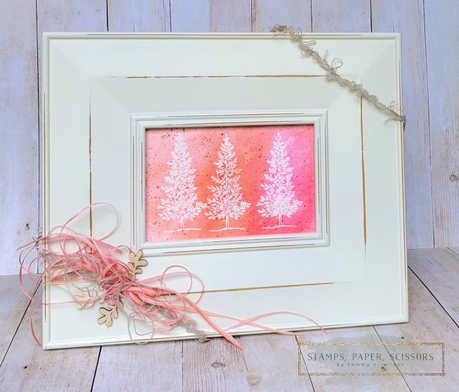 Lovely as a Tree - Pink Watercolor Frame by Tammy C. Wilson